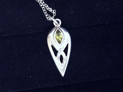 Infinity Design with Swarovski Green Crystal