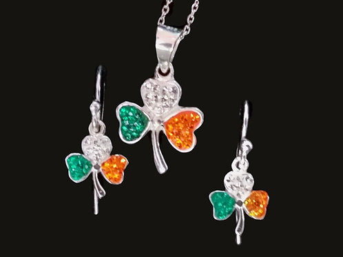 Irish Flag Shamrock Earrings and Pendant