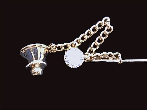 Cubic Zirconia Tie Pin with Chain