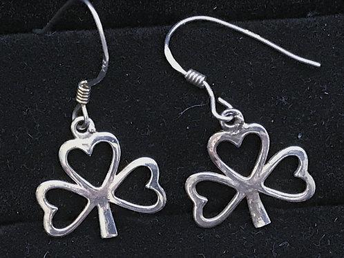 Silver Shamrock Drop Earrings