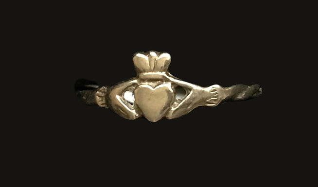 10K Gold Claddagh Ring with a Braided Band
