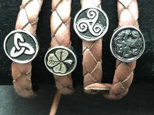 Medium Weaved Leather Wristbands with Irish Symbols