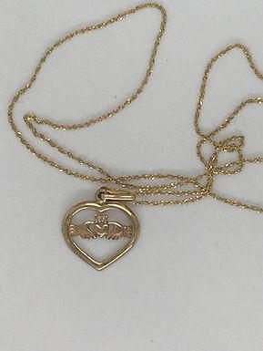 Golden Claddagh within a Golden Heart