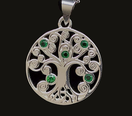 Tree of Life Silver Pendant with Green Cubic Zirconia