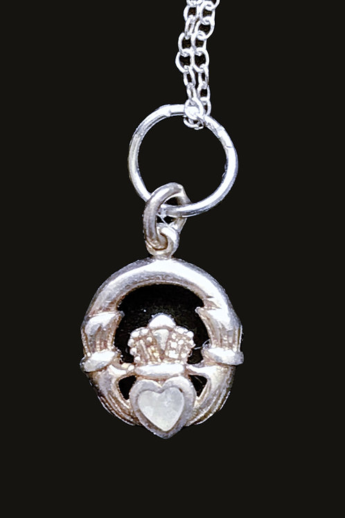 Sterling Silver Claddagh Pendant with a Clear Heart Crystal