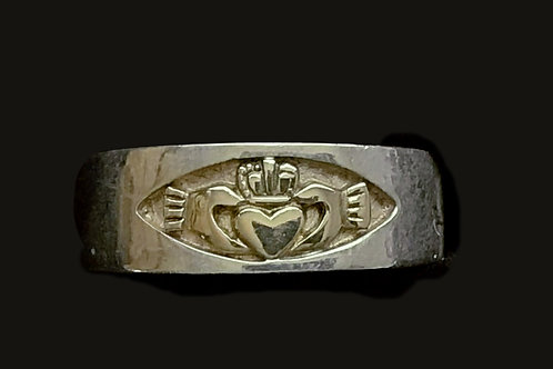 10K White and Yellow Gold Claddagh Unisex Band