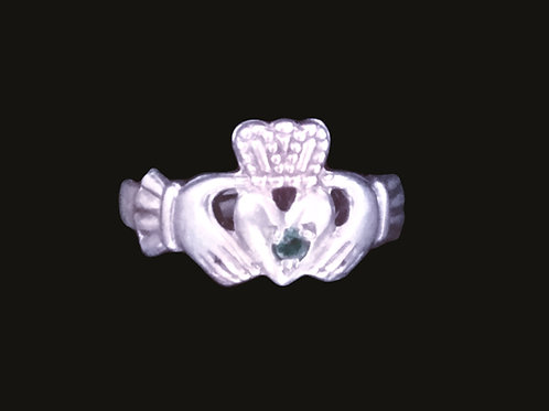 Sterling Silver Claddagh Ring with Emerald