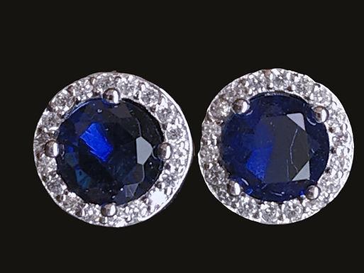 Blue Sapphire Cut Round Halo Earrings