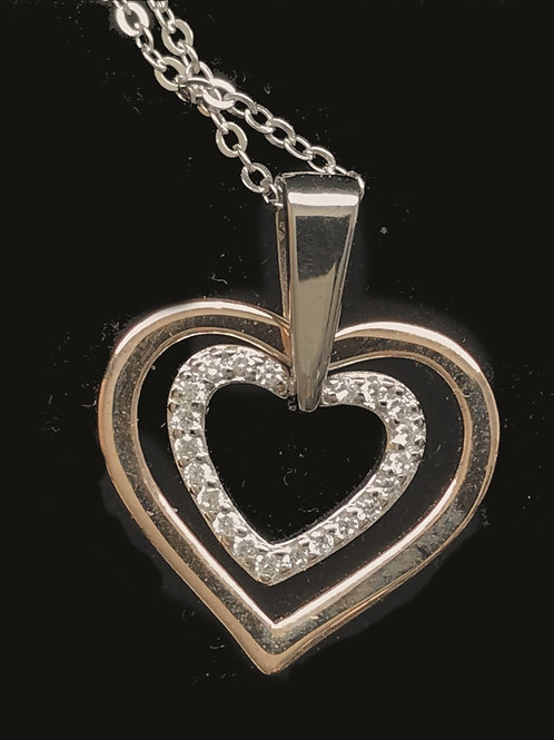 Double Heart Pendant with Clear Cubic Zirconia