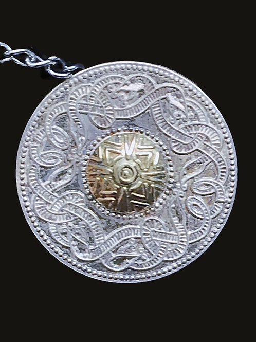Celtic Warrior Shield Tie Pin with 10K Gold Center Circle