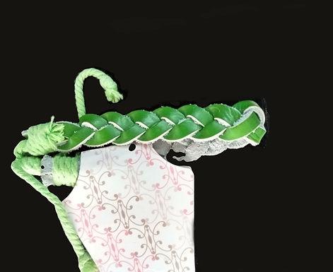Green Leather Braided Bracelet