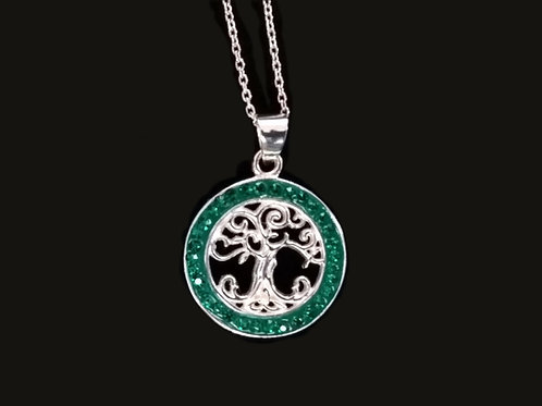 Tree of Life Pendant with Green Crystals