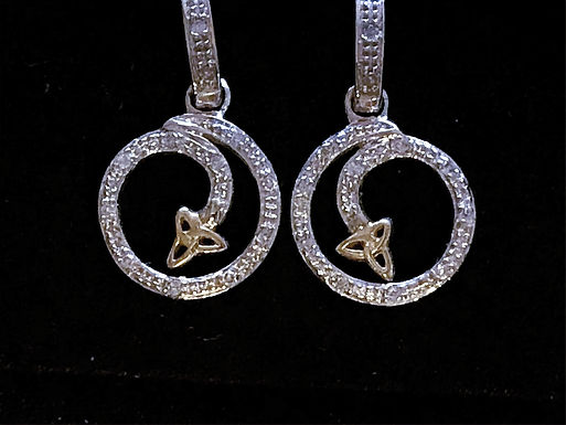 14K White Gold and Diamond Trinity Knot Earrings