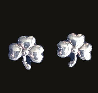 Silver Shamrock Earrings Sterling small also in green