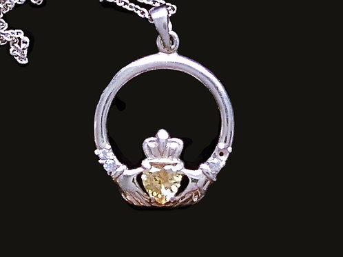 Sterling Silver Claddagh Pendant with Light Yellow Crystal