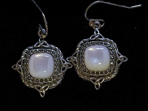 Anu Sterling Silver Mother of Pearl Drop Earrings with Marcasite