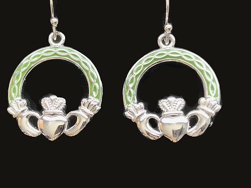 Platinum Plated Claddagh Earrings with Green Braided Arms