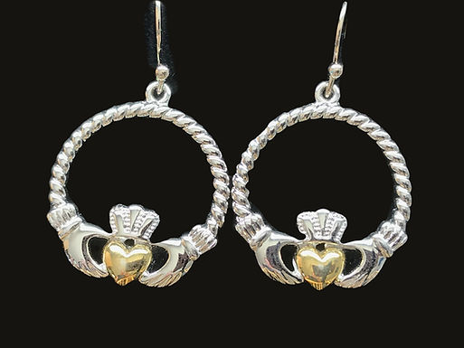 Platinum Plated Claddagh Earrings with Gold Hearts