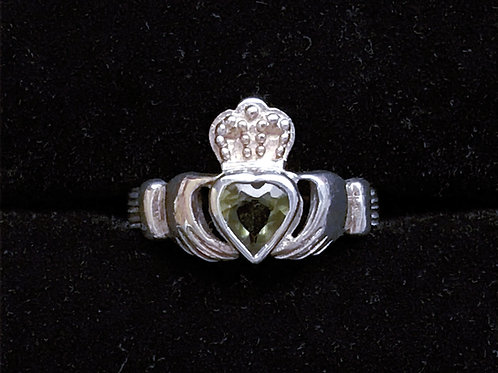 Sterling Silver Claddagh Ring with Green Heart