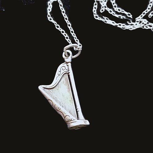 Sterling Silver Harp Pendant two sided