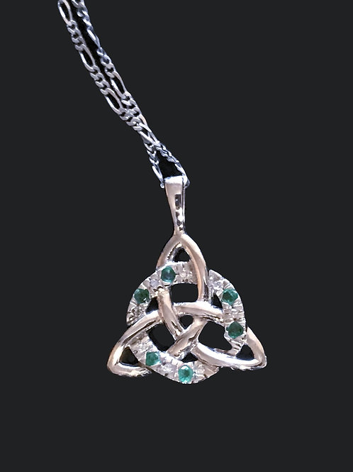 14K White Gold Trinity Knot Pendant with Green Crystals