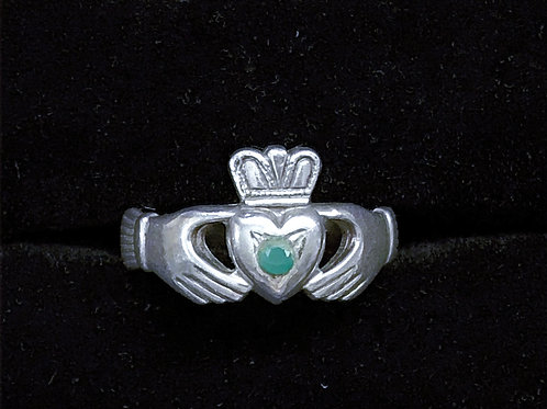 Antique Style Silver Claddagh Ring with Green Stone