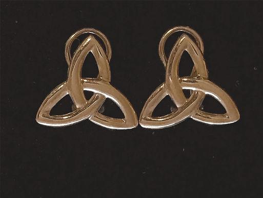 14K Gold Clip on Trinity Knot Earrings
