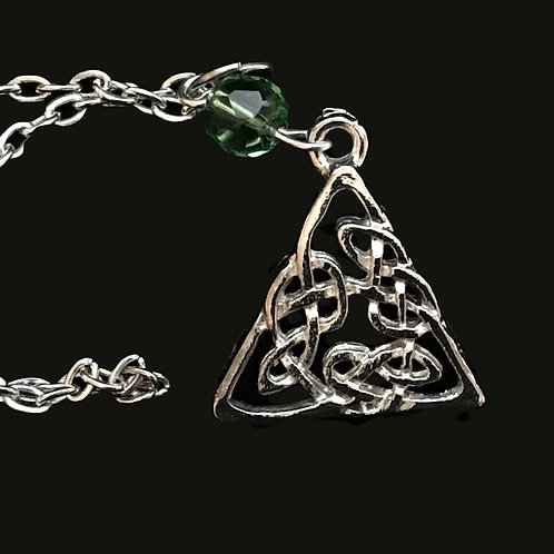 Triangle with Celtic Knots and Green Bead