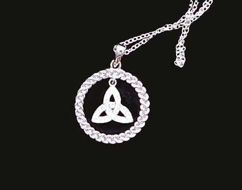 Celtic Trinity Knot & Rope Circle Pendant Encrusted With Swarovski Crystals