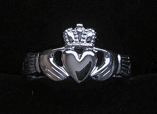 Sterling Silver Claddagh Ring with Celtic Braiding