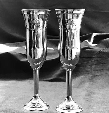 Mullingar Pewter Claddagh Champagne Glasses