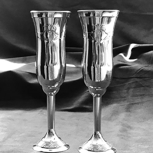 Mullingar Pewter Claddagh Champagne Glasses