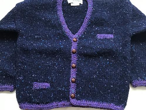 Crana Handknit Children's Sweater - Blue and Purple