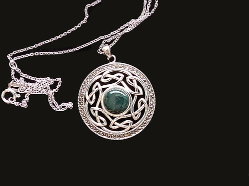 Connemara Marble and Marcasite Celtic Knot Pendant