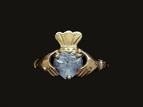 10K Gold March Birthstone Claddagh Ring