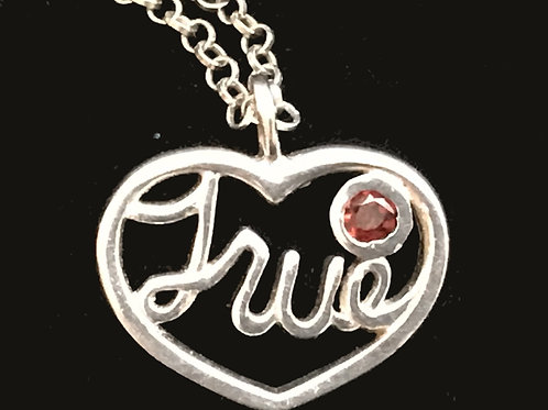 True Pendant with Red Cubic Zirconia
