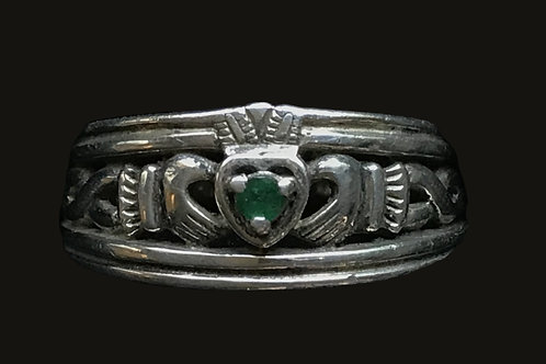 Wishbone Claddagh Ring with a Green Heart