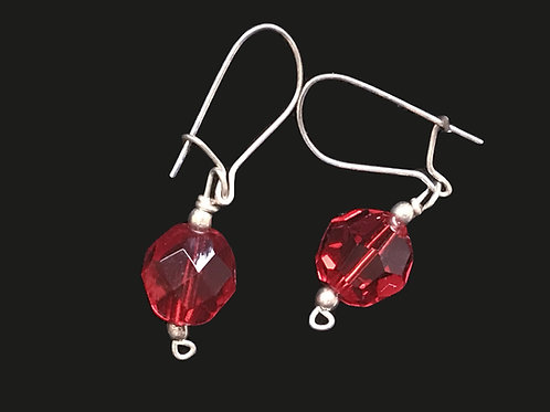 Drop Earrings with Red Bead