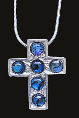 Silver Cross with Blue Stone