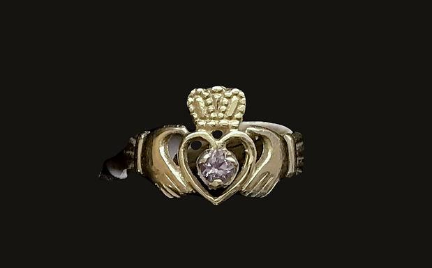 10K Gold June Birthstone Claddagh Ring
