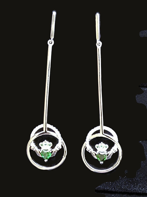 Sterling Silver Claddagh Drop Earrings with Clear and Green Crystals