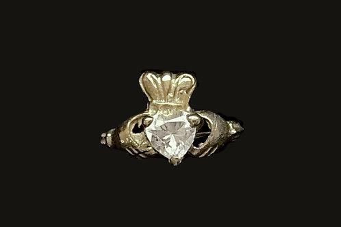 10K Gold April Birthstone Claddagh Ring