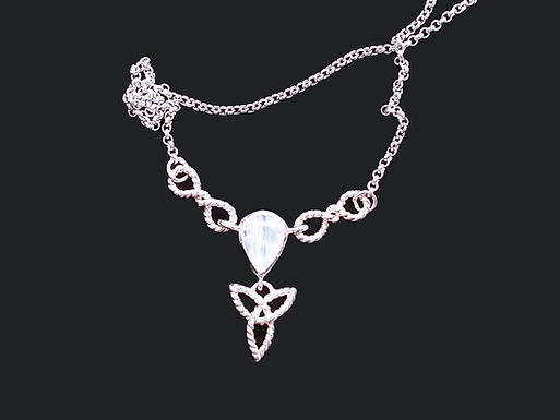 Trinity Knot Pendant with a Clear Cubic Zirconia