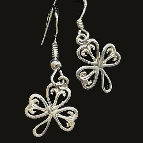 Sterling Silver Shamrock Earrings