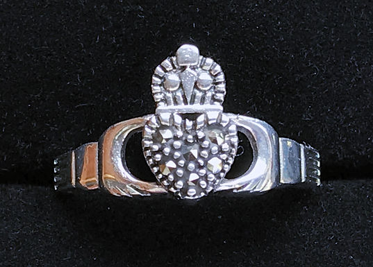 Marcasite Claddagh Ring - Sterling Silver