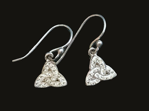 Silver Trinity Knot Earrings with Clear Cubic Zirconia