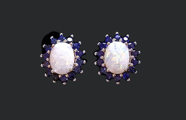 Opal and Blue Crystal Stud Earrings Sterling Silver