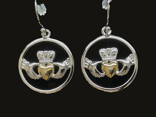 Platinum Plated Claddagh Earrings with Yellow Gold Hearts