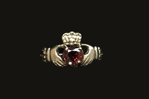 10K Gold January Birthstone Claddagh Ring