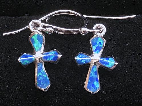 Cross with Opal Earrings